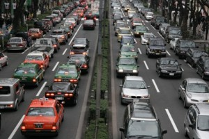 so many cars on Japanese road pollute the air and contaminate bee pollen
